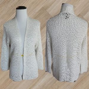 NWT/ WHITE CROCHET SEQUIN COVER UP SWEATER